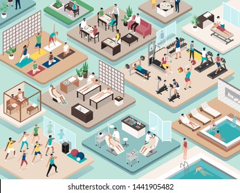 People practicing sports and fitness, relaxation and beauty treatments at the spa: wellness and healthy lifestyle concept, isometric vector interiors