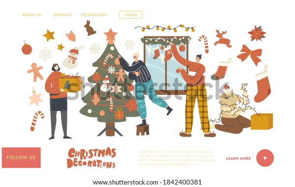 People Prepare to New Year or Xmas at Home Landing Page Template. Characters Decorate Christmas Tree. Family or Friends Hanging Baubles and Garland on Fir Tree and Window. Linear Vector Illustration