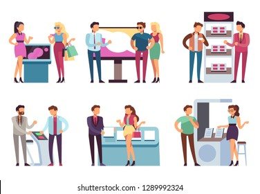 People and product stand. Promoters promote products sample to man and woman with promotion expo stands. Exhibition vector set