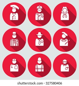 People profession avatar icon set. Judge, artist, referee, doctor, teacher, sheriff, cook, builder, worker, policeman. Business symbols. White silhouette on round red button with long shadow. Vector