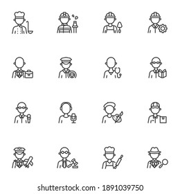 People profession line icons set, outline vector symbol collection, linear style pictogram pack. Signs, logo illustration. Set includes icons as men and women people workers, professional work uniform