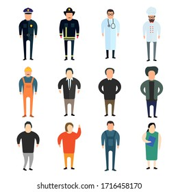 People professions characters set. Isolated vector illustration.