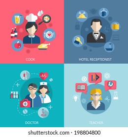 People professions concept flat icons set of cook doctor hotel receptionist and school teacher jobs for infographics design web elements vector illustration