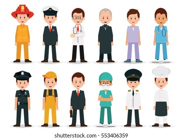 People professions and occupations icon set isolated on white background in flat design, cartoon character vector illustration.