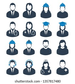 People profile icon set of different profession. Corporate man, Graduate Student, Customer Service,  Doctor, Nurse, Engineer etc.