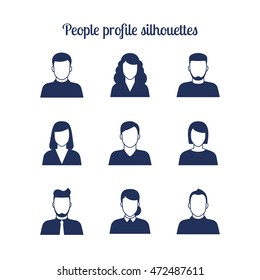 People profile silhouettes icons set. Vector illustration