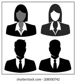 People profile silhouettes set. vector illustration