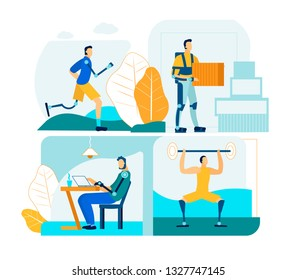 People with Prosthesis in Work and Life. Professional Bionic Innovation Technology for Lifestyle Activity Rehabilitation. Special Mechanical Exoskeleton for Weight Distribution. Flat Illustration Set.