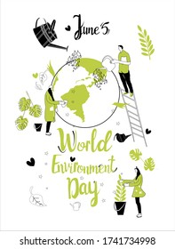 People protect Earth by planting tree and washing Planet .World environment day 5 june greeting card. Hand drawn vector illustration with green plant and watering can around world.Safe nature,ecology