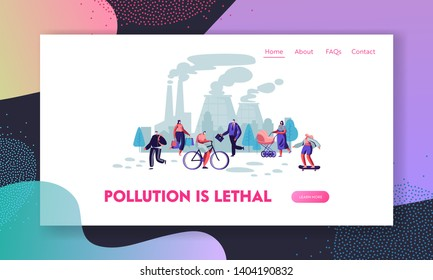People in Protective Face Masks on Street, Factory Pipes Emitting Smoke. Air Pollution, Industrial Smog, Pollutant Gas Emission Website Landing Page, Web Page. Cartoon Flat Vector Illustration, Banner