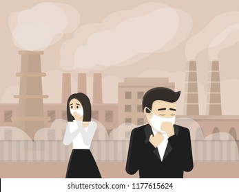 People in protective mask on industrial background with factories and smog.