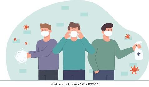 People in protective masks spraying from coronavirus. Flat design illustration. Vector