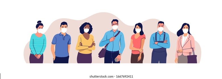 People in protective medical face masks. Man and women wearing protection from virus, urban air pollution, smog, vapor, pollutant gas emission. Vector illustration.