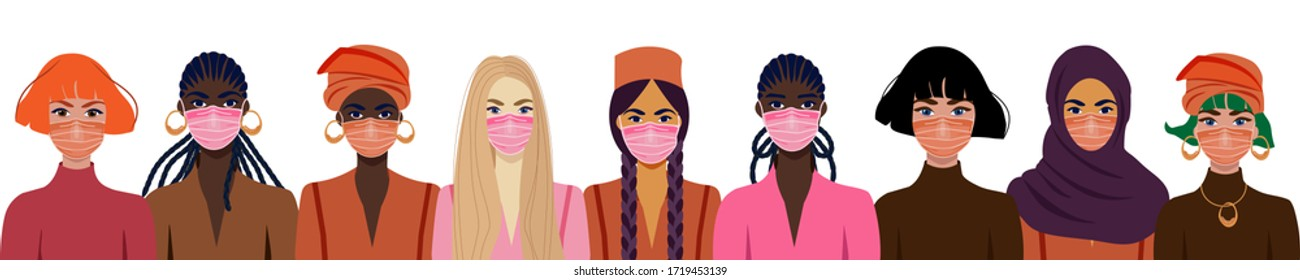 People in protective medical face masks. Coronavirus COVID-19, women wearing protection from virus, urban air pollution, smog, vapor, pollutant gas emission. Vector illustration.