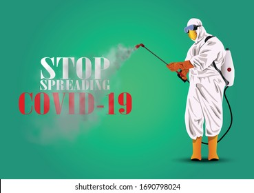 People in Protective Suit or Clothing, Spray to Cleaning and Disinfect Virus, Covid-19, Corona virus Disease, Preventive Measures