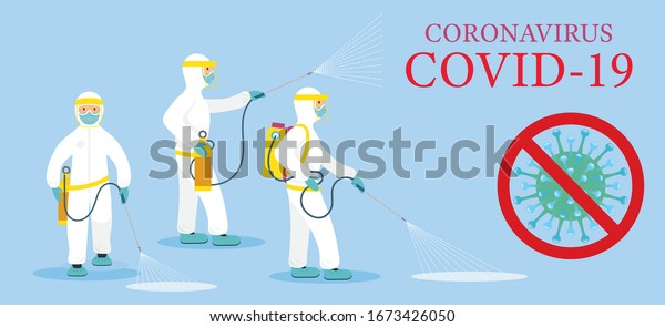 People in Protective Suit or Clothing, Spray to Cleaning and Disinfect Virus, Covid-19, Coronavirus Disease, Preventive Measures