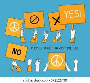 people protest hands set with banners. isolated vector illustration icons