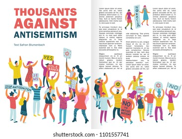 People protest infographics layout with crowd protesting against antisemitism with placards and billboards flat vector illustration