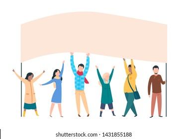 People protest. Male female activists with banners and placards in politics manifestation. Vector illustration man and woman holding political poster