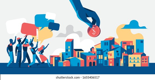People protesting on demostration or picket in the city streets. Youth crowd against corporate greed, corruption, discrimination, human rights violation. Empty speech bubbles - Vector illustration