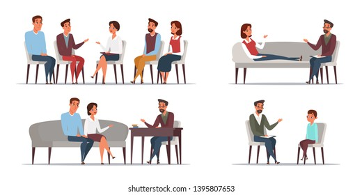 People psychologist flat illustrations set. Group psychotherapy. Family psychology isolated clipart. Children psychiatry. Wife and husband at psychotherapist appointment cartoon drawing