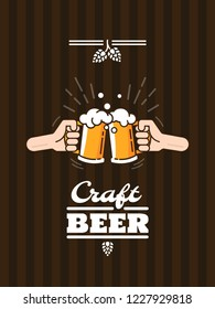 People in the pub clink mugs of beer. Friends having fun at the party. Beer background concept for banners, posters, flyers and promotional material. Vector illustration in flat style.