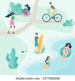 People in the public park. Walking a dog, doing sport and resting in the city park. Summer activity. Vector illustration in cartoon style