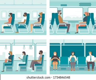 People in public transport wearing protective masks. Safe travel concept for  coronavirus COVID-19 pandemic quarantine. Flat vector illustration