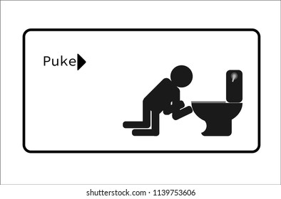 people puke after drunk. symbol, vector illustration, icon