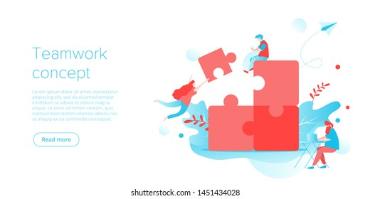 People putting puzzle together as business teamwork concept. Parthenrship or collaboration idea for corporate team building. Businessmen work on marketing challenge. Website layout vector template.
