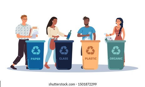 People putting rubbish in trash bins or containers. Set of men and women practicing garbage collection, sorting and recycling. Flat cartoon vector illustration.