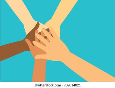 people putting their hands together vector