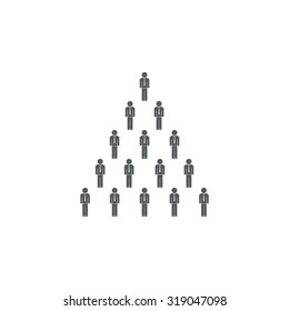 People pyramid vector illustration. Team and leader on top of pyramid.