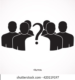 people question mark, business leader in team illustration design on white.