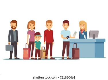 People queue in airport at registration desk. Vacation and travel vector concept. Queue people tourist to check desk illustration