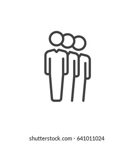 People queue line icon, outline vector sign, linear style pictogram isolated on white. Symbol, logo illustration. Editable stroke. Pixel perfect