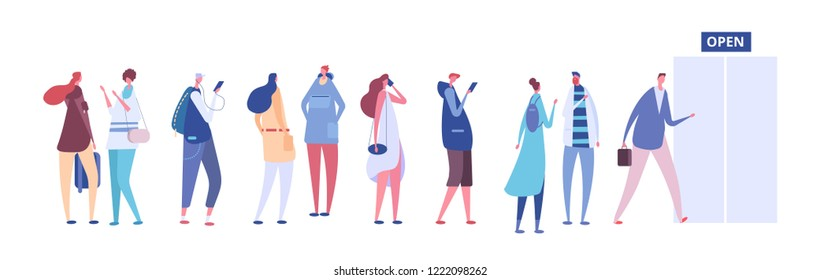 People in queue. Men and women in casual clothes, persons in line outside open store door. Vector concept