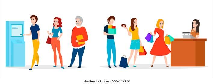 People in queue. Vector illustration