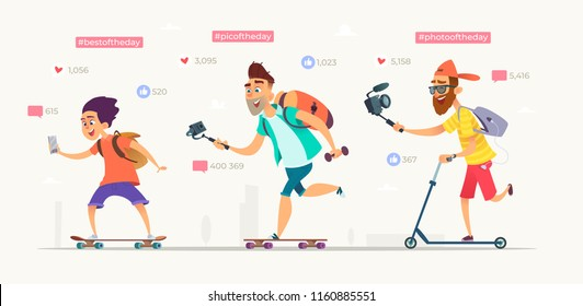 People raid on skateboards or scooters and shooting video blogs. Collection of active bloggers characters . Modern vector cartoon illustration