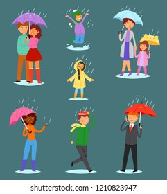 People in rain vector man woman characters in raincoat holding umbrella walking with kids in rainy autumn illustration set of lovely couple outdoor in the fall isolated on rainwater background