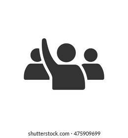 People raise hand icon in single color. Business finance buying auction student answer