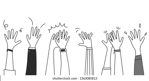 People raise hands up applause clapping for vote volunteer and cheering concept. Doodle vector design.