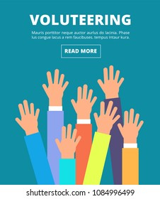 People raised hands, voting arms. Volunteering, charity, donation and solidarity vector concept. Illustration of together and charity volunteer, donation and solidarity