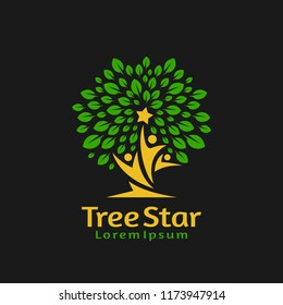 People reach star in tree Logo Template.