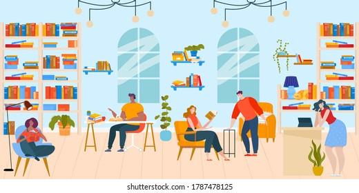 People read books in library flat vector illustration. Cartoon happy booklover reader characters sitting at tables and in chairs, reading literature in bookshop room interior, education background