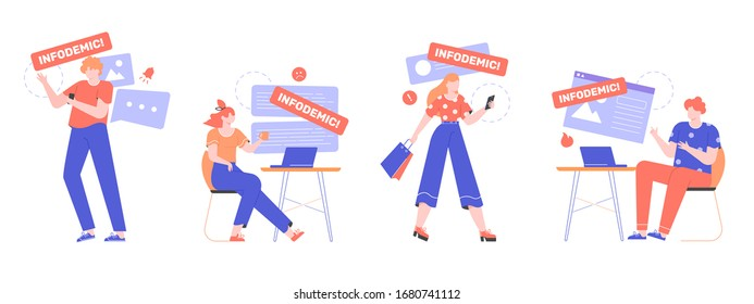 People read news online on smartphones and laptops. Infodemic during a virus pandemic. Online hoax, gossip, fake news on the Internet. Search for reliable sources of information. Vector flat.