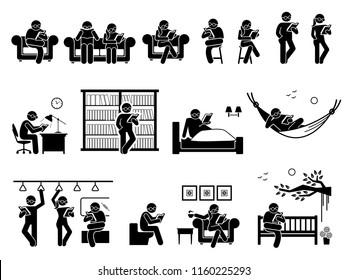 People reading book at different places. Pictogram depicts man and woman sitting and standing to read book on couch, chair, table, library, bed, hammock, train, toilet, coffee shop, and garden park.