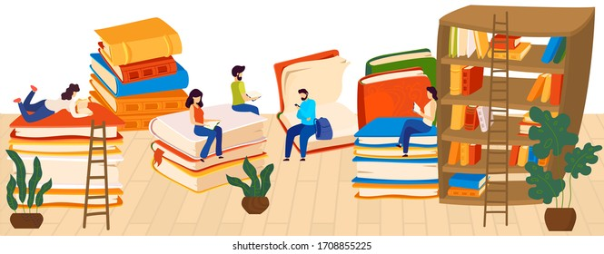 People reading books, lovers to read, knowledge and education, stacks of giant books and readers cartoon vector illustration. Book store or library with literature for students, school, university.