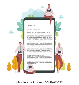 People reading e book by mobile. flat design style minimal vector illustration.