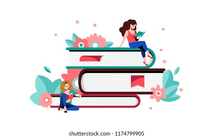 People reading and sitting on giant stack of books. Concept for a book festival, fair, reading challenge. Vector illustration of womеn with books and flowers.